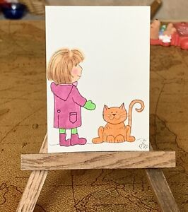 "ACEO ORIGINAL Miniature Art By PJR ""Here Kitty""  Patti J. Rice Paint Cat"