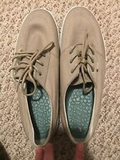 Reef Boat Shoes Canvas Kakhi Tie Lace And Comfortable Sole Size 11 Mens