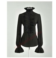 Elegant Top High Neck Frilly Ruffle Womens Victorian Long Sleeve Shirt Blouse z1