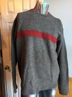 J.CREW Men's Pullover Sweater Size Large 100% Wool Crew Neck Warm Gray