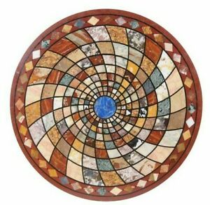 """36"""" Marble Coffee Center Table Top Marble Pietra dura Handmade"""