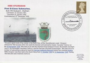 GB Stamps Navy Souvenir Cover WWII, HMS Sturgeon, S class Submarine, fish 2008