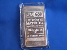Johnson Matthey .999 Silver 10 Oz Ingot Bar B3309