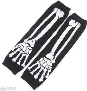 Unisex Black White Skeleton Elastic Fingerless Arm Warmers Elbow Long Gloves-New