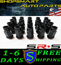 SRS 12X1.25 BLACK STEEL TUNER LUG NUT SET 20 FOR  SUBARU INFINITI G35 350Z S13