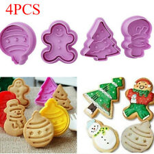 4pcs Christmas Cookie Stamp Biscuit Mold Cookie Plunger Cutter DIY Baking Mould
