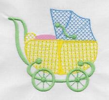 TEN EMBROIDERED BABY  QUILT BLOCKS ON WHITE  KONA COTTON--2