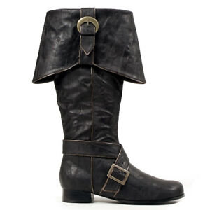 Ellie 121-JACK Men's Black Sparrow Pirate Cosplay Renaissance Knee High Boots