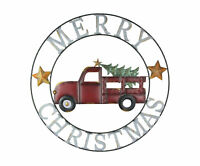 Merry Christmas Vintage Red Truck and Tree Round Wall Hanging 34.5 Inch Diameter
