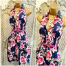 JANE NORMAN UK 12 BNWT Navy & Pink Floral Cotton Retro Fit & Flare Shirt Dress