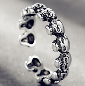 Skull 925 Silver Plt Adjustable Open Band Thumb Rings Women Statement Gift Wrap