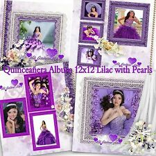 "Photoshop Quinceañera Templates PSD 12x12"" Album Lilac with Pearls"
