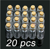 Wholesale 20Pcs 2ml Glass Bottles Small Tiny Clear Glass Bottle Vials with Cork