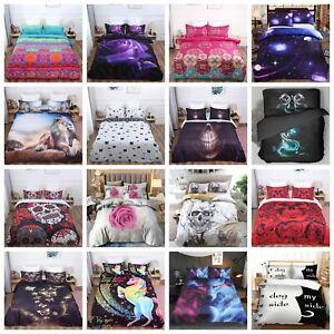 3D Bettbezug Skull Blumen Mandala Bettwäsche 50×75 Kissenbezüge 135x200 220x240