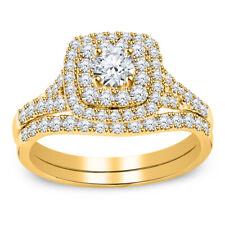 3.00 Ct Round Diamond Halo Bridal Set Engagement Ring 10K Yellow Gold Finish