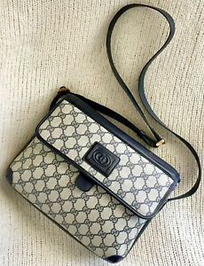 Vintage GUCCI Supreme GG Messenger Shoulder Bag Crossbody Purse Navy Blue RARE!