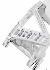 WOMENS DIAMONDS BELTS DESIGNER LETTER V BLUE DIAMANTE REAL LEATHER BELT S M L XL