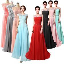 Formell Lang Brautjungfernkleid Hochzeit Perlen Abendkleid Party Ballkleider 24W
