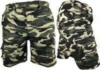 Mens Army Camouflage Cargo Elasticated Shorts Cotton Combat Half Pants M-3XL