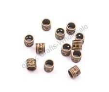 20/50/100Pcs Antique Tibetan Silver TUBE Big Hole Spacer Beads 5MM Hole CA3020