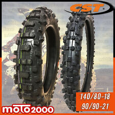 COPPIA PNEUMATICI COPERTONI 140/80-18 90/90-21 CST MOTO CROSS ENDURO OFF ROAD