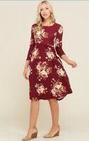 NWT Women's Medium Burgundy Red Floral Midi Dress Fall Winter BOUTIQUE