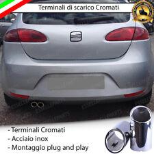 COPPIA TERMINALE SCARICO CROMATO LUCIDO ACCAIO INOX SEAT LEON 1P1 ROTONDI