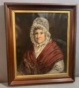19thC Antique PRIMITIVE Old GEORGIAN Era LADY in LACE BONNET Portrait PAINTING