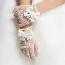 US STOCK ! Flower Baby Girls Bow Tie Lace Party Ivory Gloves For 3-12 years