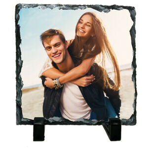 Personalised Custom Picture Square Rock Slate Any Photo Image Text 15 x 15cm