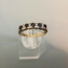 Women's 9ct Gold Sapphire & Diamond Ring Weight 2.1g Size M Stamped