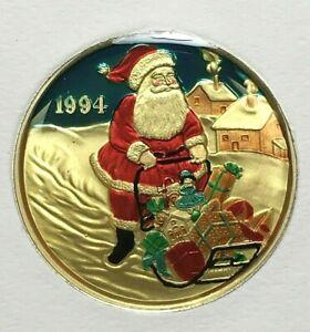 1994 CHRISTMAS SANTA ONE OUNCE .999 SILVER ROUND ENAMELED - SILVERTOWNE