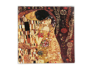 "5""x5"" Decorative Square Golden Glass Plate, G. Klimt Collection, ""The Kiss"""