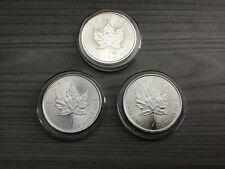 Set of 3 - 2014 Silver Canadian Maple leaf 9999 Pure uncircul w/AirTite Capsule