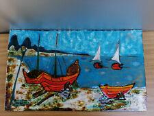 Ruscha Keramik Wandbild Boote 50s 60er midcentury Wandplatte handgemalt