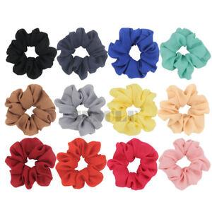 Chiffon Hair Scrunchies Elastic Hair Bands Bobble Solid Scrunchie Hairband