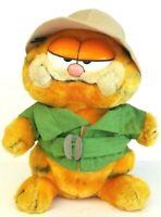 Dakin 1981 Vintage Garfield On Safari With Hat Soft Plush Stuffed Cat Animal Toy
