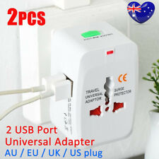 2X World Universal Travel Adapter With USB Convertor Wall Plug Power AU US UK OZ