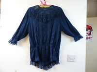 VINTAGE gypsy/boho/ 80s lacy textured embellished antique style blue  top M