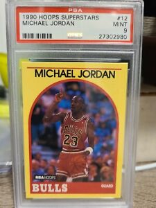 1990 NBA Hoops Superstars #12 Michael Jordan Chicago Bulls HOF PSA 9 MINT