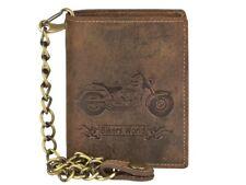 Portafogli catena moto custom chopper vera pelle nabuk  biker chain wallet