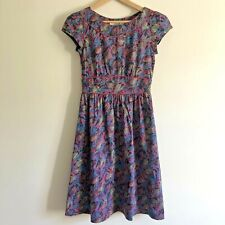 SEASALT Dress Size 8 Briarfield Floral PInk Blue Tea Dress Lined 100% Cotton