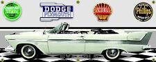 1958 PLYMOUTH BELVEDERE WHITE CONVERTIBLE GARAGE SCENE BANNER SIGN ART MURAL 2X5