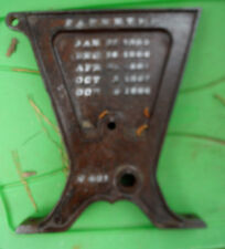 Vintage Cast Iron Seeder Part for Yard Garden Display with 1800s era Patents