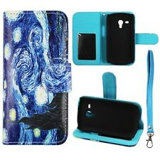 For Samsung Galaxy S3 Mini i8190 Wallet Pu Leather Blue Art Starry Case Cover