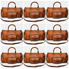 5pc Lot New Men's Brown Vintage Genuine Leather Overnight Luggage Duffle Gym Bag
