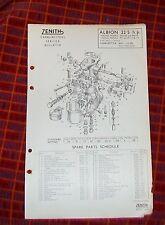 Albion 22.5hp PH PK 114 & 11 ZENITH 36UY PER CARBURATORI. elenco delle parti tecniche.