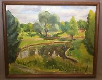 Original Impressionist O/C_Artist Signed LR_Landscape/Park/Pond_Exc_SHIPS FREE