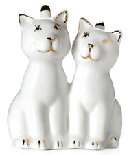 New Cat Ring Holder Two White Cats w/ REAL 24K GOLD Plating Ceramic Engagement