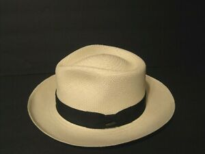 Scala Genuine Panama straw FEDORA Hat Handwoven in Ecuador LARGE C-CROWN